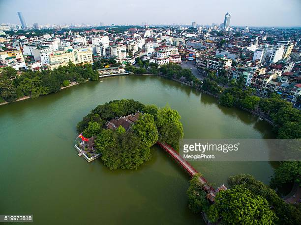 Ngoc Son temple and The Huc bridge from highview in Hanoi, Vietnam.