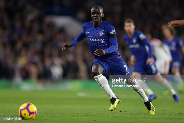 Ngolo Kanté of Chelsea in action during the Premier League match between Chelsea FC and Crystal Palace at Stamford Bridge on November 04 2018 in...