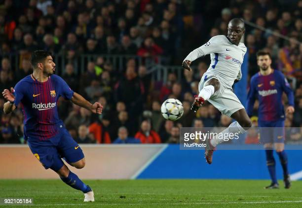 NGolo Kante and Luis Suarez during the match between FC Barcelona and Chelsea FC for the secong leg of the 1/8 final of the UEFa Champions League...