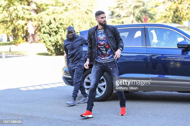 Ngolo Kante and Olivier Giroud of France arrives for the training session of the France soccer team at Centre National du Football on October 8 2018...