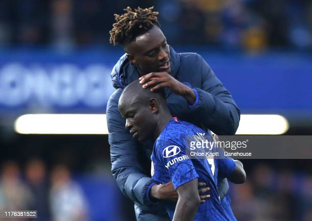 NGolo Kante and Tammy Abraham of Chelsea FC react after loosing during the Premier League match between Chelsea FC and Liverpool FC at Stamford...