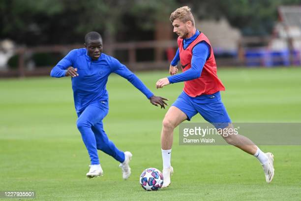 NGolo Kante and Timo Werner of Chelsea during a training session at Chelsea Training Ground on August 6 2020 in Cobham England