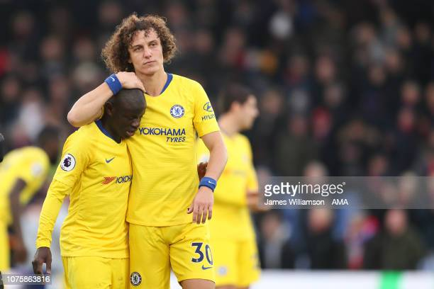 NGolo Kante of Chelsea and David Luiz of Chelsea at full time of the Premier League match between Crystal Palace and Chelsea FC at Selhurst Park on...