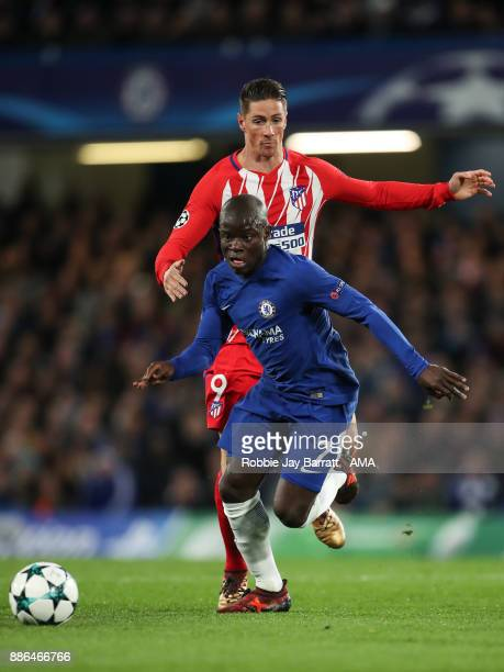 Ngolo Kante of Chelsea and Fernando Torres of Atletico Madrid during the UEFA Champions League group C match between Chelsea FC and Atletico Madrid...