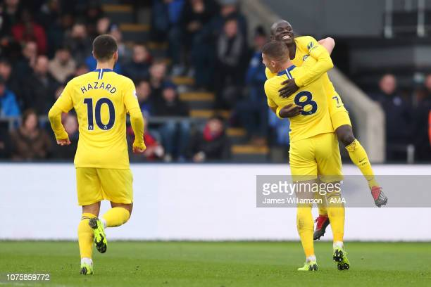 NGolo Kante of Chelsea celebrates after scoring a goal to make it 1-0 during the Premier League match between Crystal Palace and Chelsea FC at...