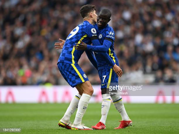 Ngolo Kante of Chelsea celebrates with teammate Kai Havertz after scoring their side's second goal during the Premier League match between Tottenham...