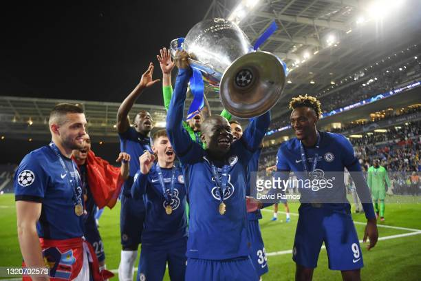 Ngolo Kante of Chelsea celebrates with the Champions League Trophy following their team's victory during the UEFA Champions League Final between...