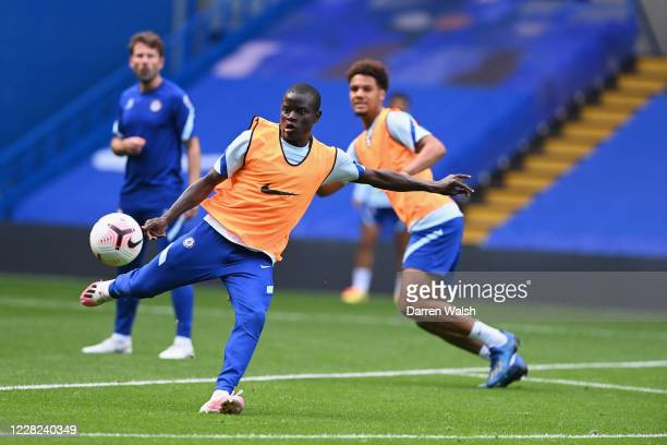 NGolo Kante of Chelsea during a training session at Stamford Bridge on August 28 2020 in London England