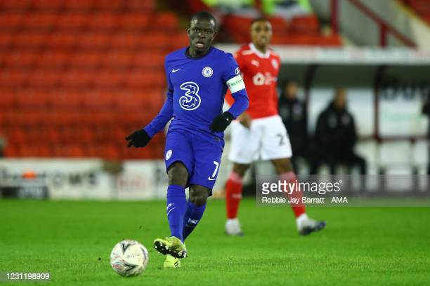 Ngolo Kante of Chelsea during The Emirates FA Cup Fifth Round match between Barnsley and Chelsea at Oakwell Stadium on February 11, 2021 in Barnsley,...