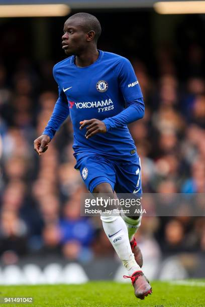Ngolo Kante of Chelsea during the Premier League match between Chelsea and Tottenham Hotspur at Stamford Bridge on April 1 2018 in London England