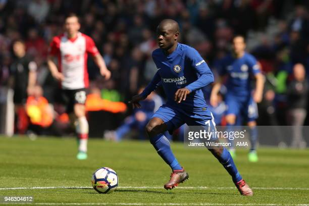 NGolo Kante of Chelsea during the Premier League match between Southampton and Chelsea at St Mary's Stadium on April 14 2018 in Southampton England