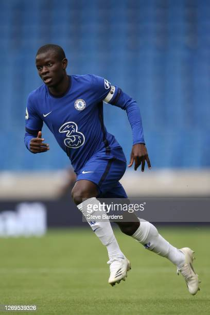 Ngolo Kante of Chelsea during the preseason friendly match at Amex Stadium on August 29 2020 in Brighton England A limited number of spectators will...