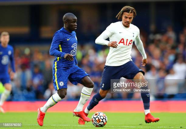 NGolo Kante of Chelsea FC and Dele Alli of Tottenham Hotspur in action during the Pre Season Friendly between Chelsea and Tottenham Hotspur at...