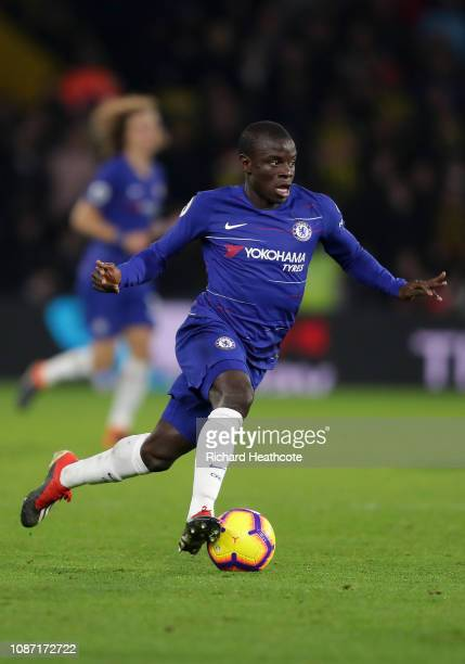 Ngolo Kante of Chelsea in action during the Premier League match between Watford FC and Chelsea FC at Vicarage Road on December 26 2018 in Watford...
