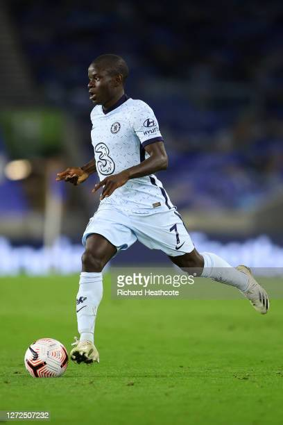 Ngolo Kante of Chelsea in action during the Premier League match between Brighton Hove Albion and Chelsea at American Express Community Stadium on...