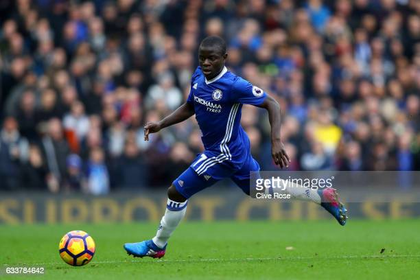 Ngolo Kante of Chelsea in action during the Premier League match between Chelsea and Arsenal at Stamford Bridge on February 4 2017 in London England