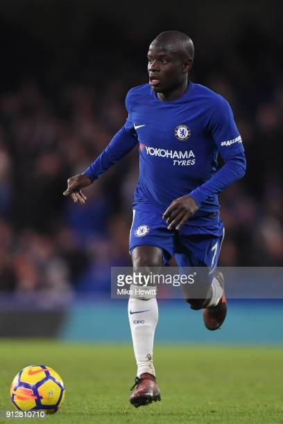 Ngolo Kante of Chelsea in action during the Premier League match between Chelsea and AFC Bournemouth at Stamford Bridge on January 31 2018 in London...