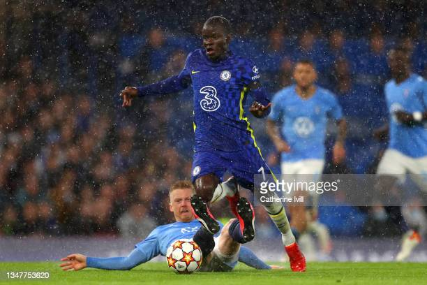 Ngolo Kante of Chelsea is tackled by Anders Christiansen of Malmo FF during the UEFA Champions League group H match between Chelsea FC and Malmo FF...