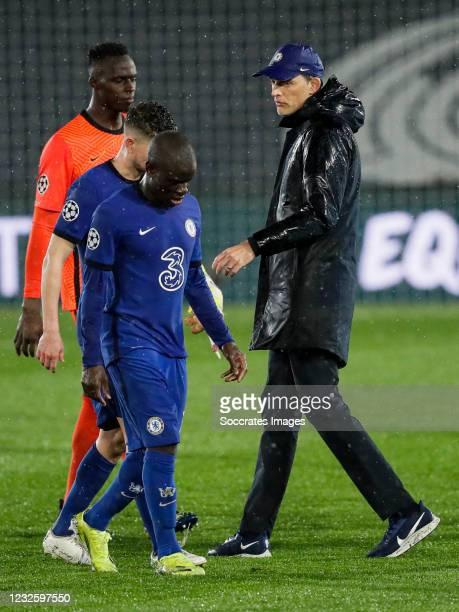NGolo Kante of Chelsea, Jorginho of Chelsea, coach Thomas Tuchel of Chelsea during the UEFA Champions League match between Real Madrid v Chelsea at...