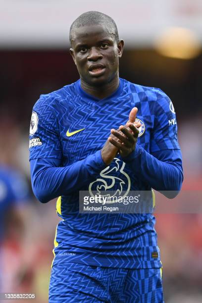 Ngolo Kante of Chelsea looks on during the Premier League match between Arsenal and Chelsea at Emirates Stadium on August 22, 2021 in London, England.