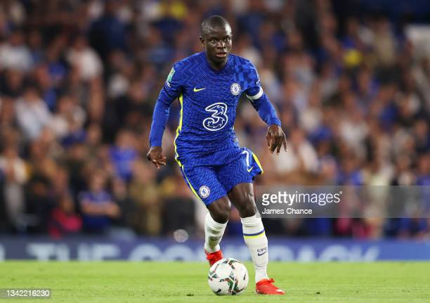 Ngolo Kante of Chelsea runs with the ball during the Carabao Cup Third Round match between Chelsea and Aston Villa at Stamford Bridge on September...