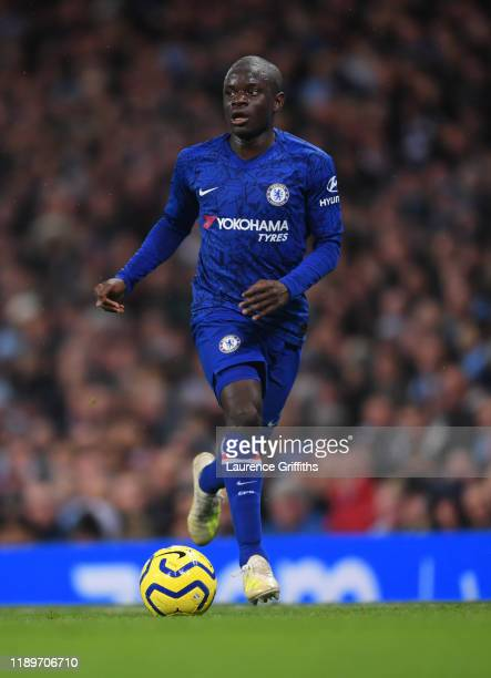 Ngolo Kante of Chelsea runs with the ball during the Premier League match between Manchester City and Chelsea FC at Etihad Stadium on November 23,...