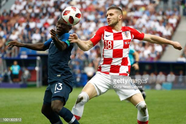 Ngolo Kante of France and Ante Rebic of Croatia compete for the ball during the 2018 FIFA World Cup Russia final match between France and Croatia at...