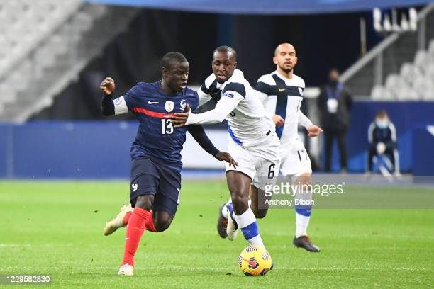 Ngolo KANTE of France and Glen KAMARA of Finland during the international friendly match between France and Finland at Stade de France on November...
