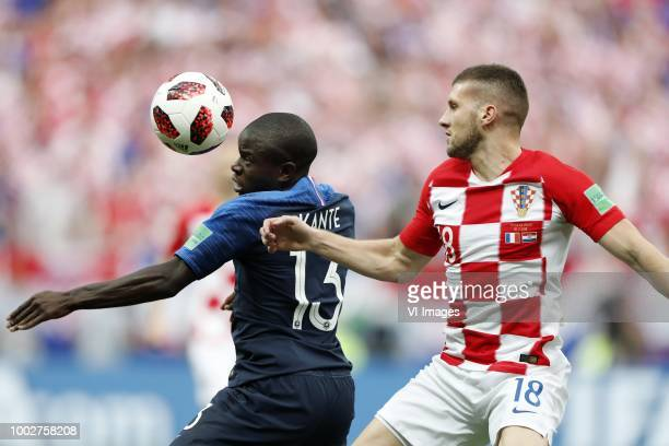 Ngolo Kante of France Ante Rebic of Croatia during the 2018 FIFA World Cup Russia Final match between France and Croatia at the Luzhniki Stadium on...