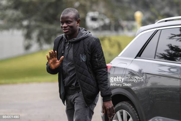 Ngolo Kante of France arrives at Centre National du Football on March 19 2018 in Clairefontaine en Yvelines France