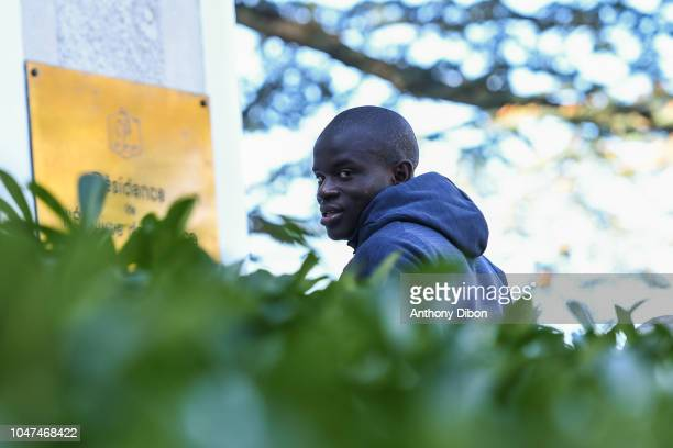 Ngolo Kante of France arrives for the training session of the France soccer team at Centre National du Football on October 8 2018 in Clairefontaine...