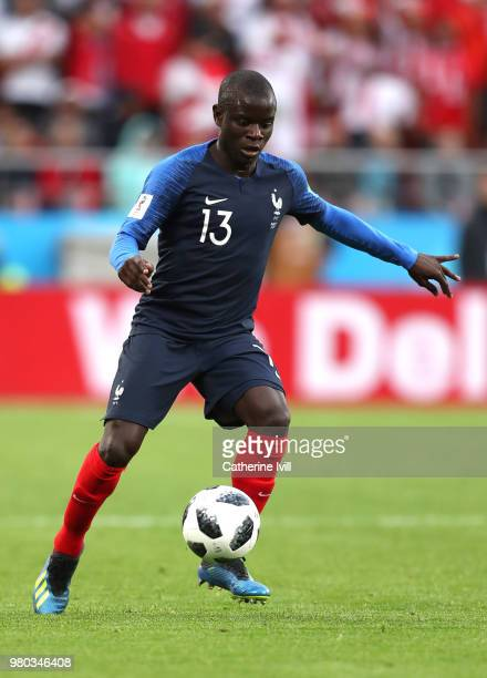 Ngolo Kante of France controls the ball during the 2018 FIFA World Cup Russia group C match between France and Peru at Ekaterinburg Arena on June 21...
