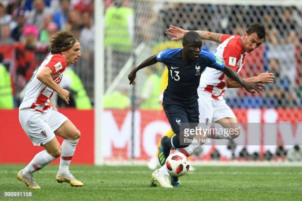 Ngolo Kante of France controls the ball during the 2018 FIFA World Cup Russia Final between France and Croatia at Luzhniki Stadium on July 15 2018 in...
