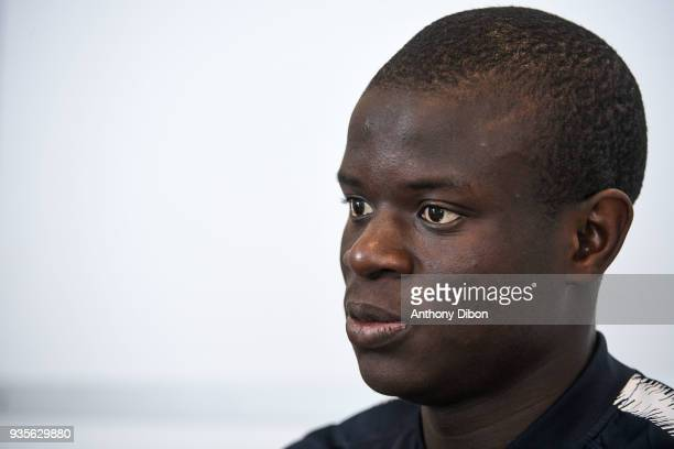 Ngolo Kante of France during media meeting at Centre National du Football on March 20 2018 in Clairefontaine en Yvelines France