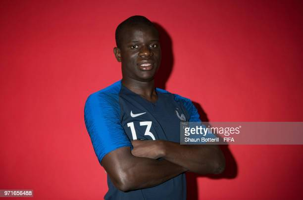 Ngolo Kante of France poses for a potrait at the team hotel during the official FIFA World Cup 2018 portrait session at on June 11 2018 in Moscow...