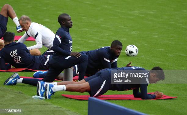 Ngolo Kante of France react with Dayot Upamecano and Raphael Varane during the training session two day ahead of the UEFA Nation League Group C match...