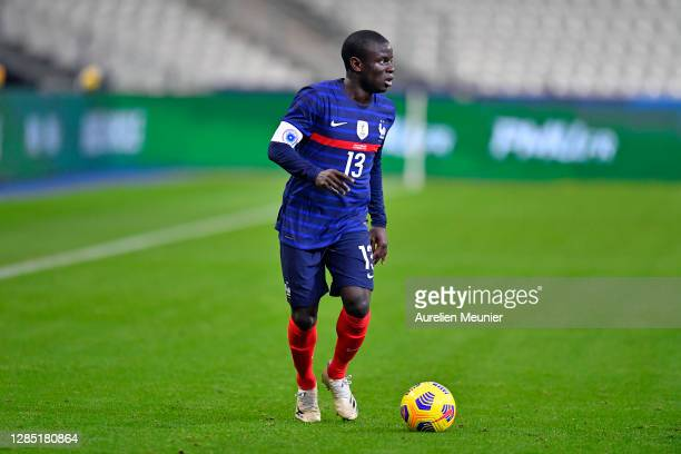 Ngolo Kante of France runs with the ball during the international friendly match between France and Finland at Stade de France on November 11, 2020...