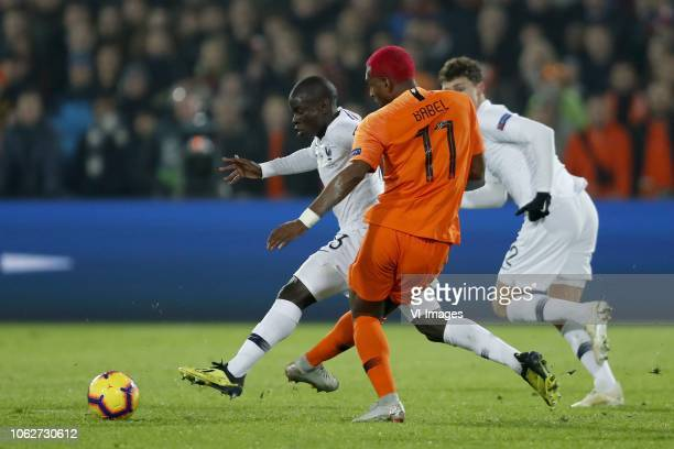 Ngolo Kante of France Ryan Babel of Holland Benjamin Pavard of France during the UEFA Nations League A group 1 qualifying match between The...