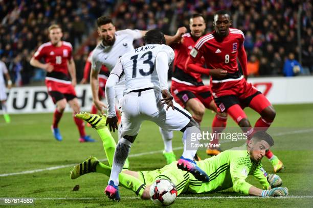 Ngolo Kante of France takes on the Luxembourg defence during the FIFA World Cup 2018 qualifying match between Luxembourg and France on March 25 2017...