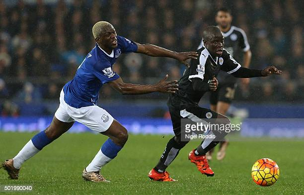 Ngolo Kante of Leicester City and Arouna Kone of Everton compete for the ball during the Barclays Premier League match between Everton and Leicester...