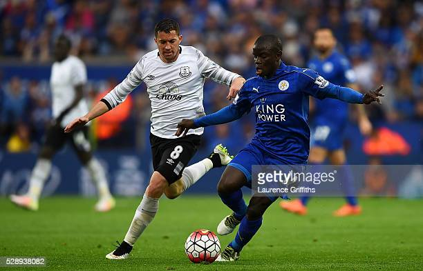 Ngolo Kante of Leicester City and Bryan Oviedo of Everton compete for the ball during the Barclays Premier League match between Leicester City and...