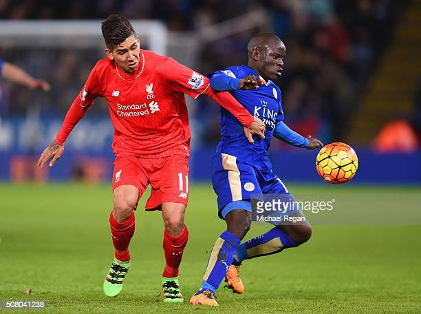 Ngolo Kante of Leicester City and Roberto Firmino of Liverpool compete for the ball during the Barclays Premier League match between Leicester City...