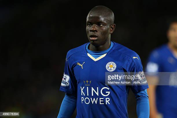 Ngolo Kante of Leicester City during the Barclays Premier League match between Leicester City and Manchester United at The King Power Stadium on...