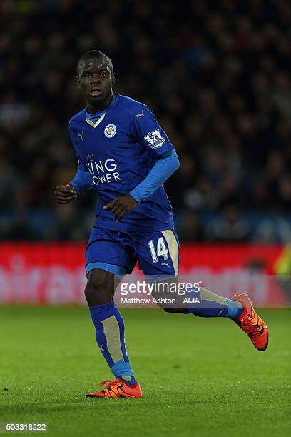 Ngolo Kante of Leicester City during the Barclays Premier League match between Leicester City and Manchester City at The King Power Stadium on...