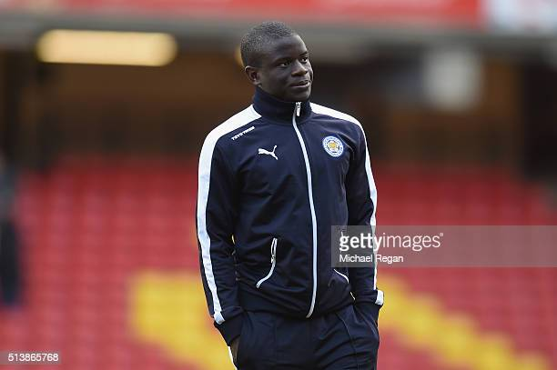 Ngolo Kante of Leicester City looks on prior to the Barclays Premier League match between Watford and Leicester City at Vicarage Road on March 5 2016...