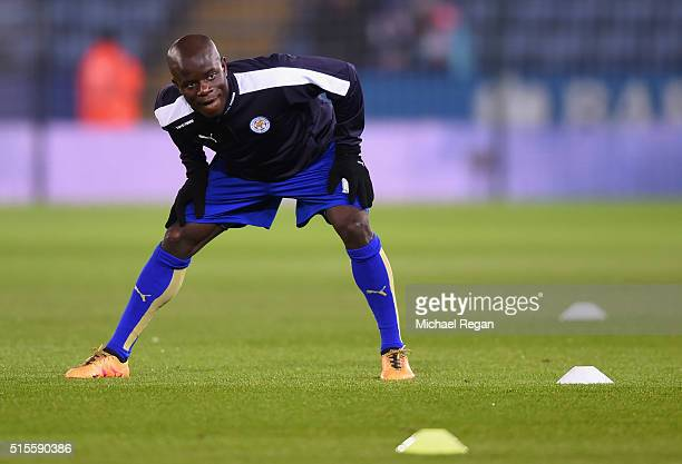 Ngolo Kante of Leicester City warms up prior to the Barclays Premier League match between Leicester City and Newcastle United at The King Power...