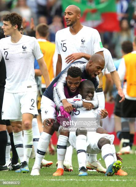 Ngolo Kante, Thomas Lemar and Djibril Sidibe of France celebrate victory following the 2018 FIFA World Cup Russia Quarter Final match between Uruguay...