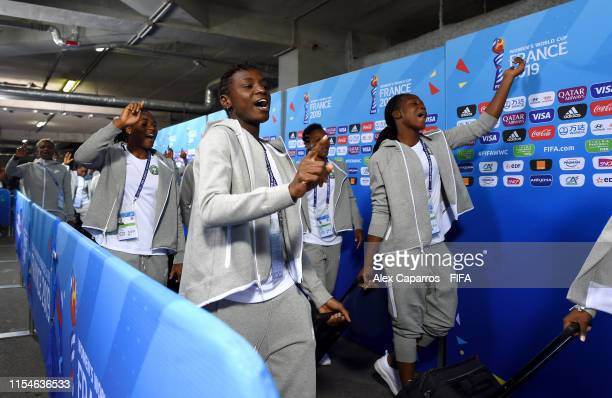 Ngozi Okobi of Nigeria and teammates arrive at the stadium prior to the 2019 FIFA Women's World Cup France group A match between Norway and Nigeria...