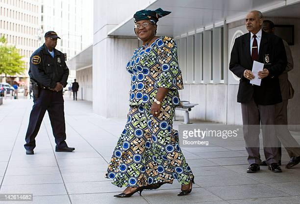 Ngozi OkonjoIweala finance minister of Nigeria center leaves the World Bank headquarters after interviewing with the organization's 25member...
