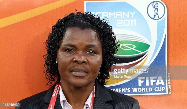 Ngozi Uche head coach of Nigeria looks on before the FIFA Women's World Cup 2011 Group A match between Canada and Nigeria at RudolfHarbigStadion on...